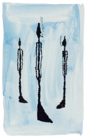David Weiss, Giacometti, 1978. Watercolor, ink and pen on paper, 9.3 x 6.5 inches.