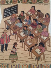 "Primitivo Evanán Poma & Association of Popular Artists of Sarhua, Education, 2014. From the series ""Discrimination."""