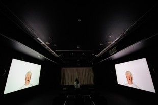 Ho Tzu Nyen, PYTHAGORAS, 2013. Installation with 4-channel HD video, 8-channel sound, automated curtain track, fans, lights, and show control mechanism, dimensions variable. Singapore Art Museum collection. Photo: Singapore Art Museum.