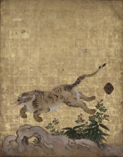 Tigers in a Bamboo Grove (Tigers at Play) (detail), mid-1630s. Kano Tan'yū, Nanzen-ji Temple, Sakyō-ku, Japan. Important Cultural Property.
