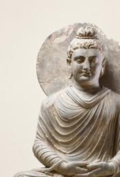 Meditating Buddha, Gandhāra, Northwest Pakistan ca. 2nd century CE. Private collection. © Museum Angewandte Kunst. Photo: Rainer Drexel.
