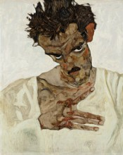 Egon Schiele, Self-Portrait with Lowered Head, 1912. Oil on wood, 42.2 x 33.7 cm. © Leopold Museum, Vienna.