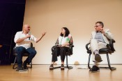 Tarek Abou el Fetouh (left) moderates a conversation between Christine Tohme and Khalil Rabah. Credit: Event Images.