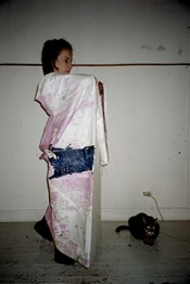 Helena Huneke wears Two Sided Kimono, rehearsal for performance, 2003.