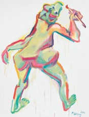 Maria Lassnig, Die Malerin (The Painter), 2004. Oil on canvas, 80.75 × 59 inches. Heithoff Family Collection. Courtesy Maria Lassnig Foundation.