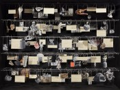 Eva Koťátková, Image atlas of Johan, a boy who cut a library out of the clinic into pieces, 2014. Vitrine, paper cut outs on strings. Courtesy Hunt Kastner, Prague, and Meyer Riegger, Berlin. MIT List Visual Arts Center.