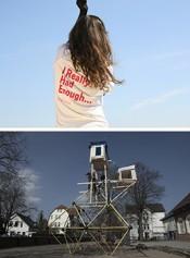 Top: Nevin Aladağ, Raise the Roof (still), 2007. Video. Bottom:Leopold Kessler, Klettergerüsterweiterung, 2015. Elementary school Heiligengeisttor, Oldenburg, Germany. Intervention, mixed media.*