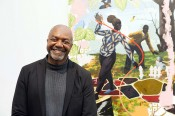 Kerry James Marshall at the 2014 Wolfgang Hahn-Prize Award Ceremony in the Museum Ludwig, in front of the work acquired for the Museum, Vignette #15, 2014. © Kerry James Marshall and the Museum Ludwig. Courtesy of the artist. Photo: Jürgen Schulzki.