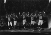 Robert Longo, Full-Scale Study for Five Rams (Ferguson, Hands Up: November 30, 2014), 2015. Charcoal on unique digital pigment print in 3 parts, 104 x 150 inches. Courtesy the artist and Metro Pictures, New York.