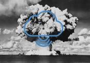Nuclear bomb explosion, Baker test, Bikini, 25 July 1946.