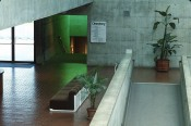 Interior view of the UC Berkeley Art Museum and Pacific Film Archive, c. 1978. The green light in the stairway is from Dan Flavin'suntitled (for Gretchen, a colorful and fond match), 1977–78. Photo: Colin McCrae.