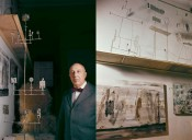 Left: Portrait of Fausto Melotti (detail). Right: Fausto Melotti's studio, Milan (detail). Both published in Domus no. 400, March 1963. Photos: Domus Archives. © Editoriale Domus S.p.A. Rozzano (Italy).