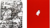 """Left: Albert Oehlen,Festnahme[Arrest], 1996.Silkscreen and oil on canvas,96 1/2 x 75 1/4 in (245 x 191 cm).KravisCollection.Image courtesythe artist. Photo: Stefan Rohner. Right: Sarah Charlesworth,Red Mask, from the """"Objects of Desire"""" series, 1983. Cibachrome with lacquered wood frame, 42 x 32in(106.6 x 81.2 cm). Courtesy the Estate of Sarah Charlesworth and Maccarone Gallery, New York."""