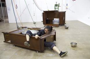 Aki Sasamoto, Centrifugal March, 2012. Performance. Photo: Orlando Thompson. Courtesy the artist and Take Ninagawa.
