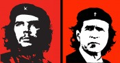 Left: Jim Fitzpatrick, Viva Che, 1968. Original print, 90 x 60cm. Courtesy the artist. Right: Marc Bijl, Viva Freedom, 2004. Poster, 100 x 80cm. Courtesy Upstream Gallery, Amsterdam.