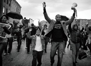 Sheila Pree Bright, 1960Now: Baltimore Ι Freddie Gray, 2015. Photograph/wall projection. Photo courtesy of the artist.