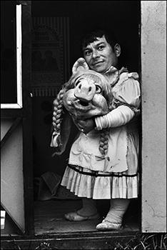 "Paz Errázuriz, Miss Piggy II, Santiago, 1984. From the series ""El circo,"" 1984. Silver gelatin print, vintage copy. Courtesy of the artist."