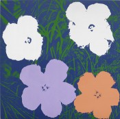 Sturtevant, Warhol Flowers, 1990. Silkscreen and acrylic on canvas, 2950 x 2950 mm. Courtesy MMK Museum für Moderne Kunst Frankfurt am Main. © Sturtevant Estate Paris. Photo: Axel Schneider.