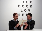 Mark Geffriaud, A New Refutation of Time, 2014. Performers: David Bernstein and Vivian Ziherl. As part of The Book Lovers Pop-up Bookstore in de Appel Arts Centre, Amsterdam.