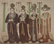 Portrait of Female Donors, Mogao Cave 61. Five Dynasties copied by Wan Gengyu and Feng Zhongnian, 203 x 215 x 249 cm. Courtesy Dunhuang Academy.