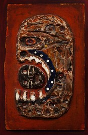 Dominick Di Meo, Fallen Hero, c. 1955. Paint on plaster and Masonite on wood panel. Collection of Ulrich and Harriet Meyer.