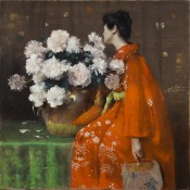 William Merritt Chase, Spring Flowers (Peonies), 1889. Pastel on paper, prepared with a tan ground, and wrapped with canvas around a wooden strainer, 48 x 48 inches. Terra Foundation for American Art, Daniel J. Terra Collection, 1992.32.
