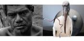 Left: Ben Rivers, The Creation As We Saw It (still), 2012.Film.Right:Katja Novitskova, Dawn Mission, 2016. Installation.