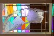 Daniel Buren, Brisées par les reflets: les couleurs(detail), Espace culturel Louis Vuitton Venice, 2016. © DB-ADAGP Paris.Courtesy the artist and Louis Vuitton. Frank Gehry, Suspended Sails, 2016. Models of the glass sails for the Fondation Louis Vuitton.Courtesy the artist and Louis Vuitton.