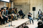 Artist Theaster Gates in conversation with IdeasCity Detroit Fellows at the Jam Handy in Detroit. Photo: Justin Milhouse.
