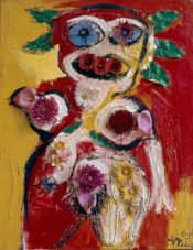 Karel Appel, Woman with Flowers No.1, 1963. Plastic flowers and oil on canvas, 45 x 35 inches. Gift of the Karel Appel Foundation, 2016. The Phillips Collection, Washington, DC.