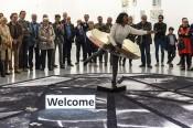Otobong Nkanga,From Where I Stand: Glimmer, 2015.Performance at M HKA, Antwerp. Photo: Christine Clinckx.