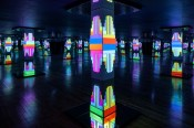 Cayetano Ferrer,Endless Columns, 2014.Salvaged MGM ash tray, polystyrene on wood frame, Aquaresin, mirrors,sound and light projection (18 x 18 x 10 feet).Image courtesy of Château Shatto and the artist.