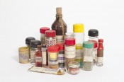Ethan Hayes-Chute, Bottles and Jars from Contemporary Spice Rack, 2012.Jars, bottles, various containers, mixed contents, Epson HX-20 printouts, dimensions variable. Courtesy the artist.