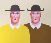 Nicolas Party, Two Men with Hats, 2016. Pastel on canvas. Courtesy of the artist and The Modern Institute/Toby Webster, Ltd., Glasgow. © Nicolas Party.